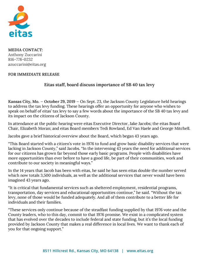 News Release: Tax Levy Hearing